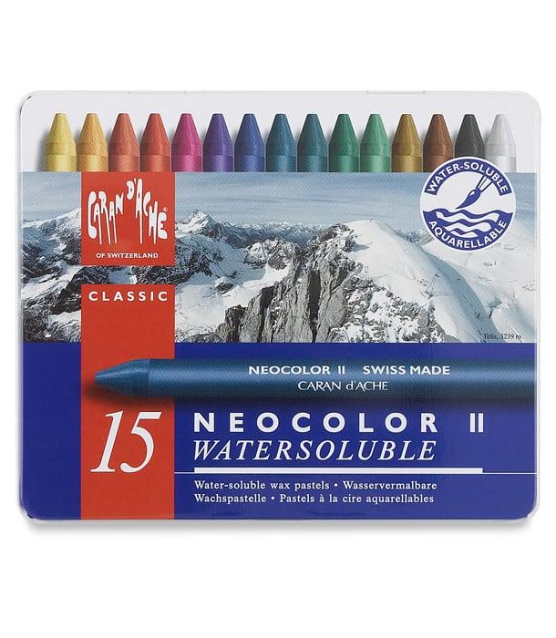 Акварельная пастель Caran d'Ache Neocolor II Watersoluble (15 цветов)