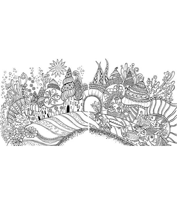 Раскраска Die Welt unter der Lupe - zu Wasser: Ausmalen und durchatmen от Rita Berman (изд. Lübbe Германия)