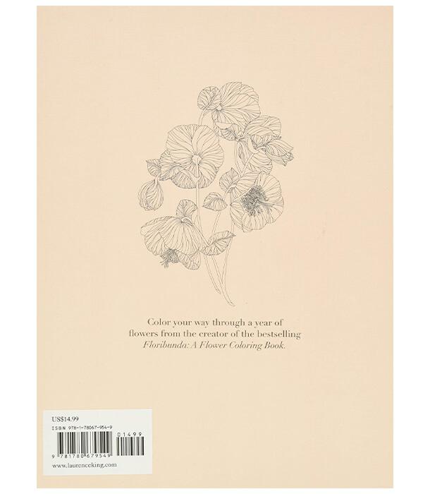 Раскраска The Flower Year: A Colouring Book от Leila Duly (изд. Laurence King Publishing Англия)