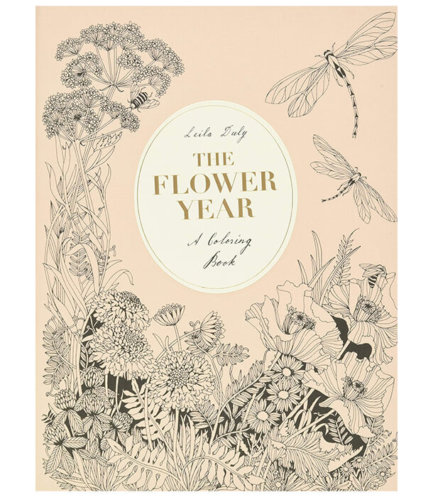 Раскраска The Flower Year: A Colouring Book от Leila Duly (изд. Laurence King Publishing Англия)