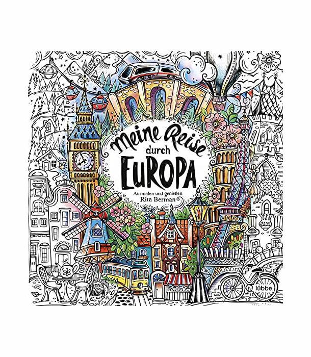 Раскраска Meine Reise durch Europa: Ausmalen und genießen от Rita Berman (изд. Lübbe Германия)